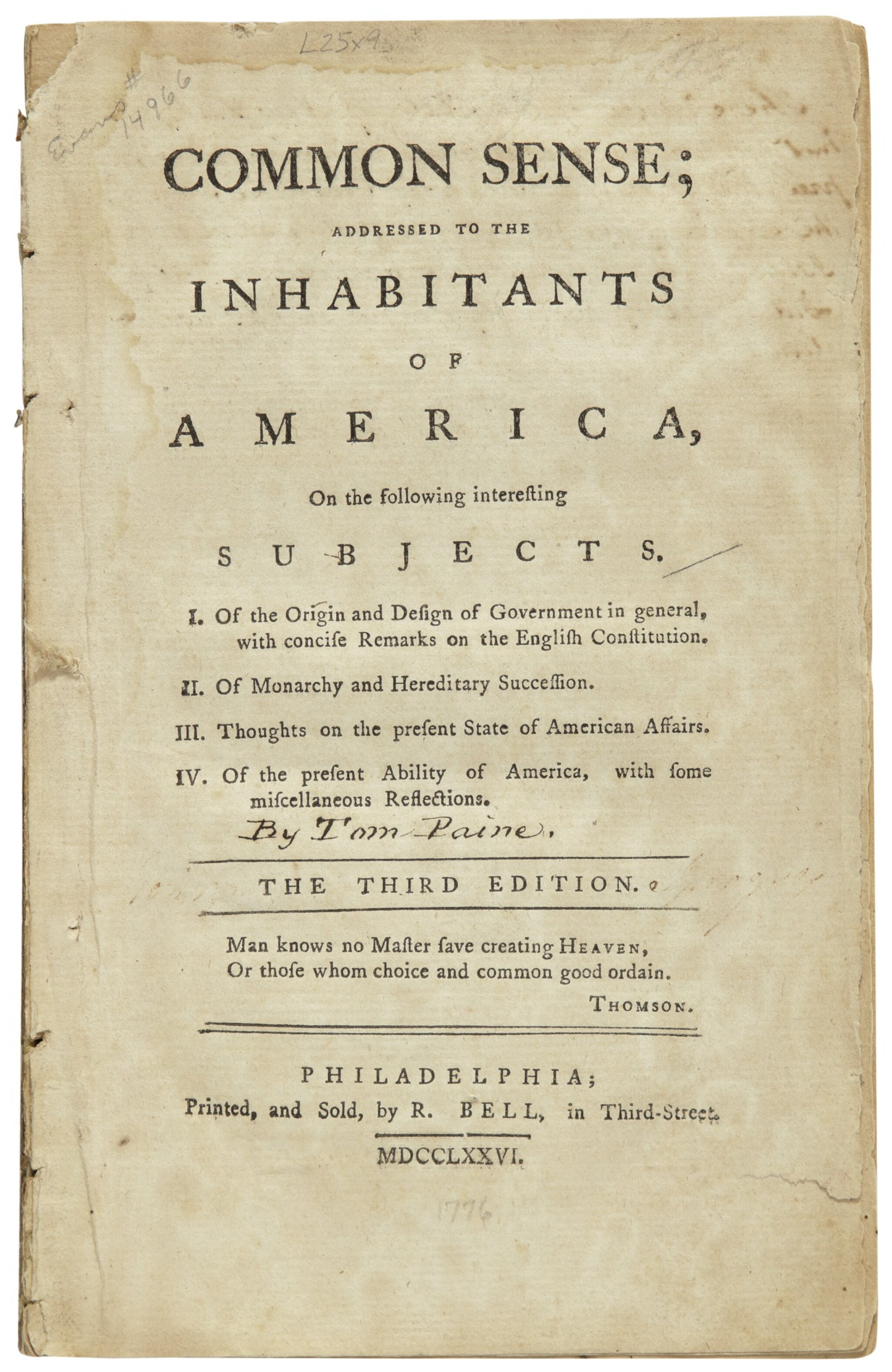 View full screen - View 1 of Lot 2203. [Paine, Thomas]. Common Sense; Addressed to the Inhabitants of America . . . Philadelphia: R. Bell, 1776.