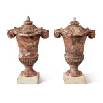 A PAIR OF LOUIS XIV CARVED BRÈCHE VIOLETTE MARBLE LIDDED URNS, CIRCA 1700