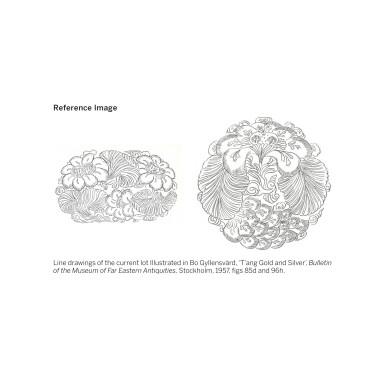 View 9. Thumbnail of Lot 202. A superb and important parcel-gilt silver 'lotus and pomegranate' bowl, Tang dynasty   唐 銀局部鎏金石榴蓮花紋花式大盌.