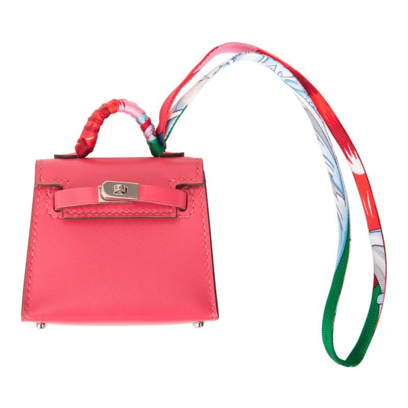 Rose Lipstick Mini Kelly Twilly Bag Charm Tadelakt Leather, Silk Twill and Silver Tone Hardware