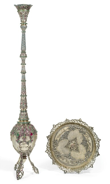A GEM-SET AND TURQUOISE SILVER HUQQA, EUROPE OR PERSIA, FIRST-HALF 20TH CENTURY