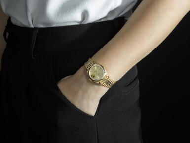 View 4. Thumbnail of Lot 9. ROLEX |  DATEJUST, REFERENCE 69178, A YELLOW GOLD WRISTWATCH WITH DATE AND BRACELET, CIRCA 1983.