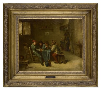 View 2. Thumbnail of Lot 206. JAN H. PEYPERS | AN INTERIOR SCENE WITH PEASANTS PLAYING CARDS.