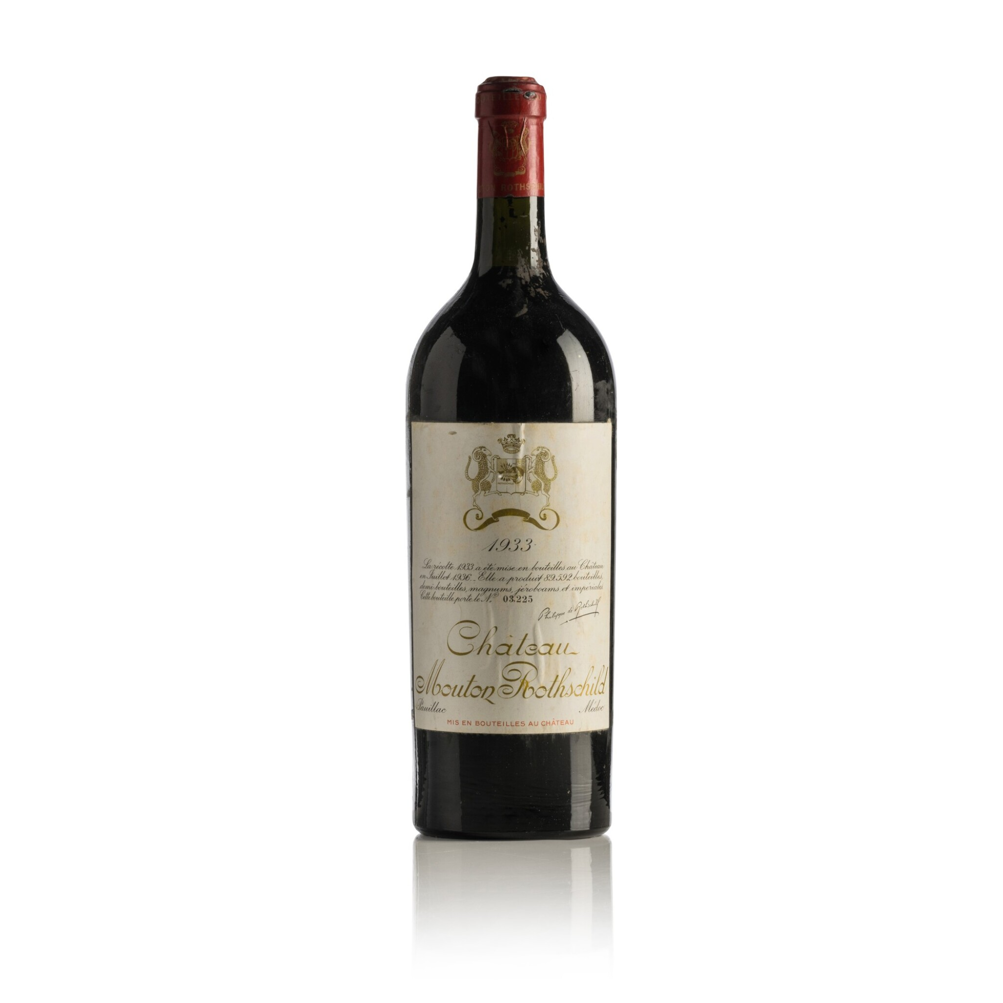 View full screen - View 1 of Lot 255. Château Mouton Rothschild 1933  (1 MAG).