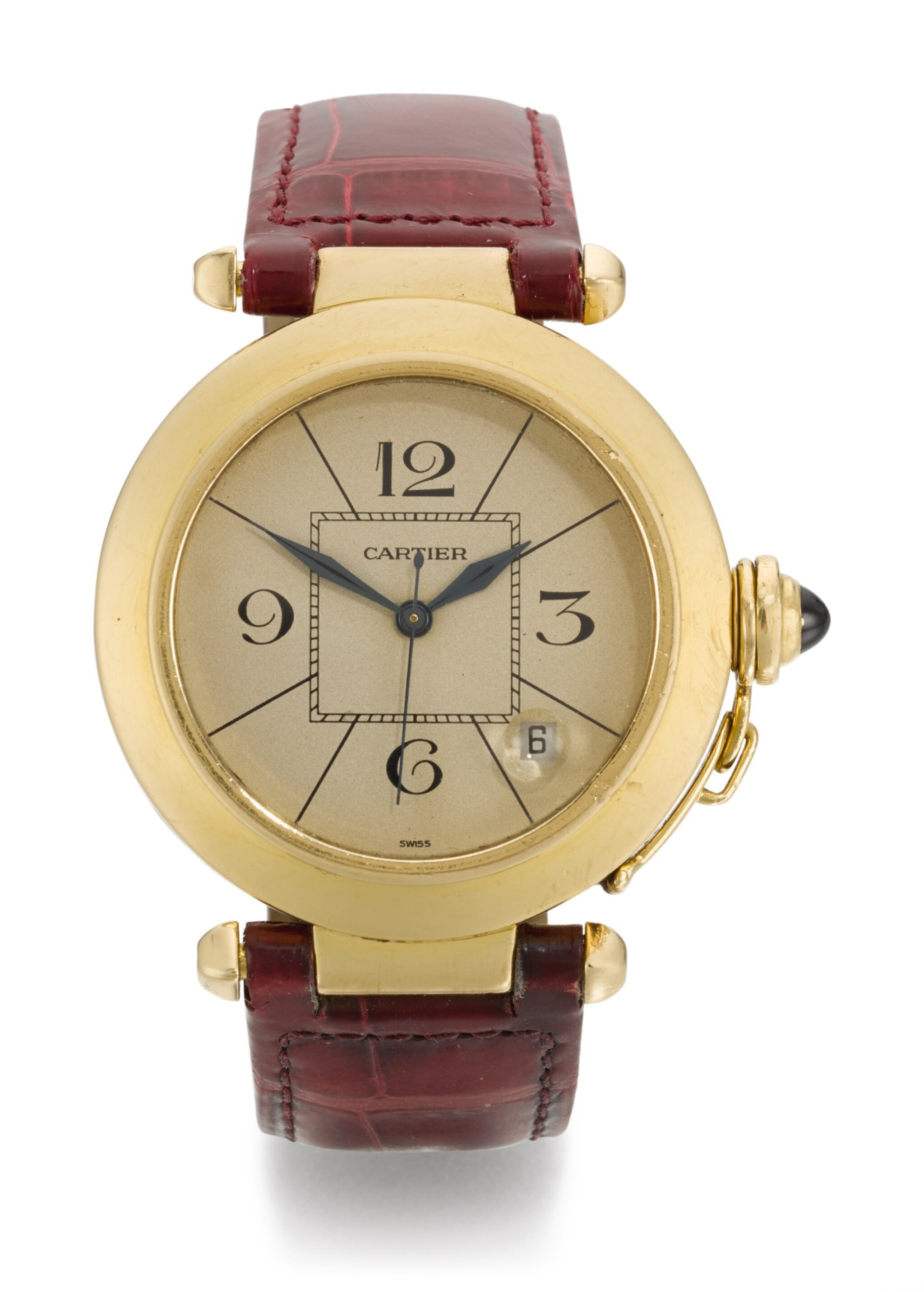 CARTIER | PASHA, REFERENCE 1988 820901, YELLOW GOLD WRISTWATCH WITH DATE, CIRCA 1989