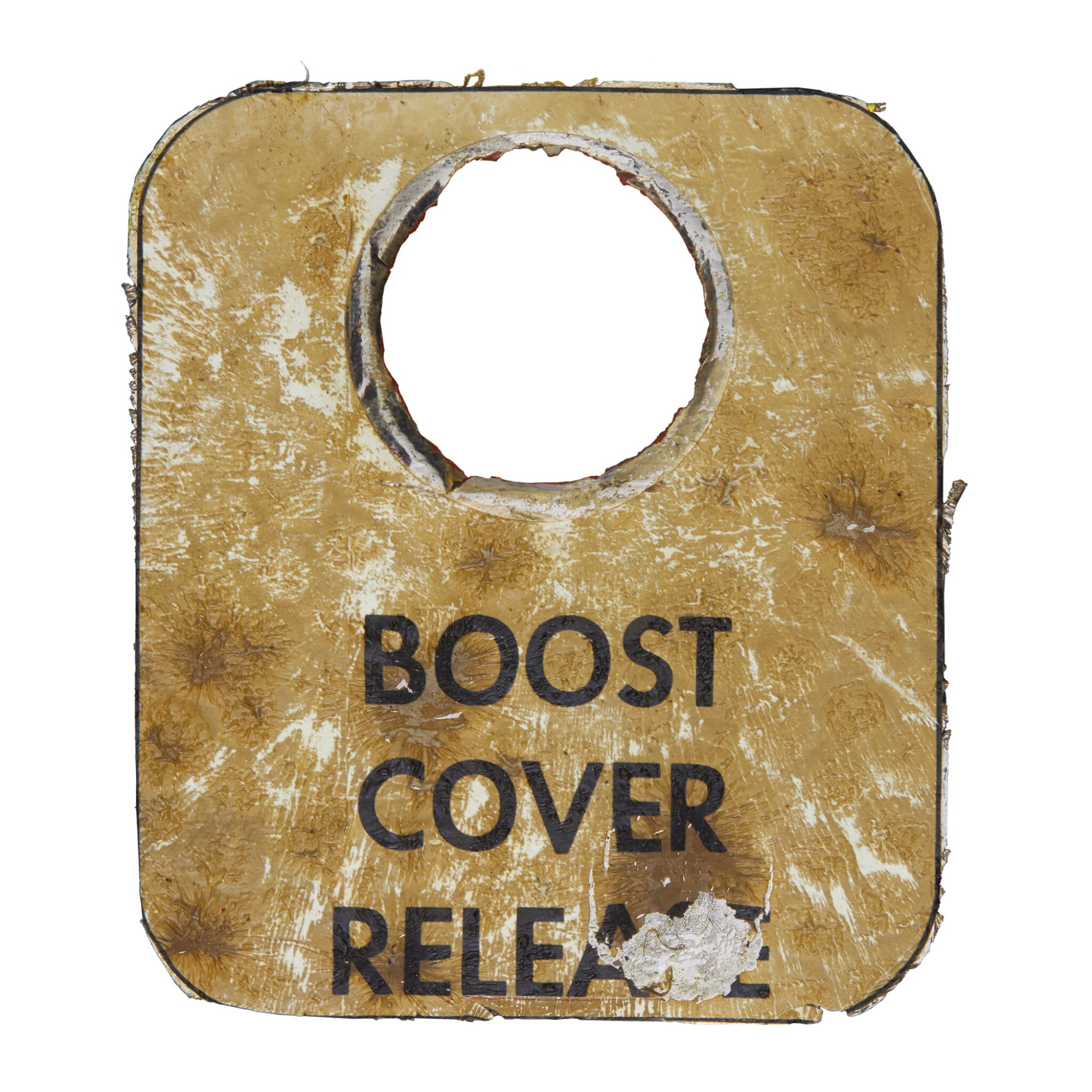"""View full screen - View 1 of Lot 106. [APOLLO 11]. FLOWN COMMAND MODULE """"COLUMBIA"""" BOOST COVER RELEASE LABEL."""