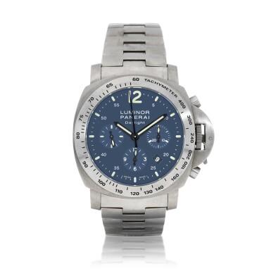 View 1. Thumbnail of Lot 9264. Panerai   Luminor Chrono Daylight, Reference PAM 327, A titanium chronograph wristwatch with date and bracelet, Circa 2009   沛納海   Luminor Chrono Daylight 型號PAM 327   鈦金屬計時鏈帶腕錶,備日期顯示,約2009年製.