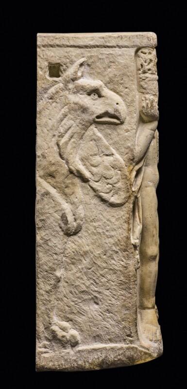View 3. Thumbnail of Lot 87. A Roman Marble Season Sarcophagus Fragment, 3rd Century A.D..