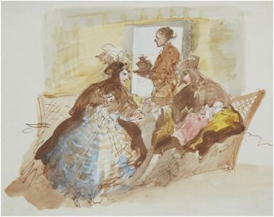 View 1. Thumbnail of Lot 11. GIUSEPPE BERNARDINO BISON | AN ELEGANT COUPLE TAKING AFTERNOON TEA.