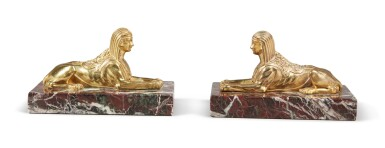 View 2. Thumbnail of Lot 130. A PAIR OF EMPIRE GILT BRONZE SPHINXES, 19TH CENTURY.