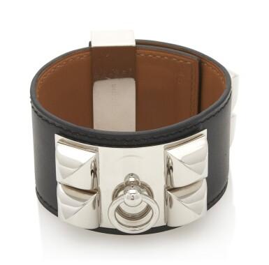Black leather and palladium bracelet, Collier de chien , Hermès, 2007