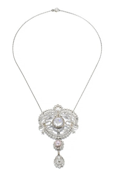 View 1. Thumbnail of Lot 678. Faint Pink diamond and natural pearl pendant/necklace combination, circa 1900 | 淡粉紅色鑽石配天然珍珠吊墜/系列組合,約1900年.