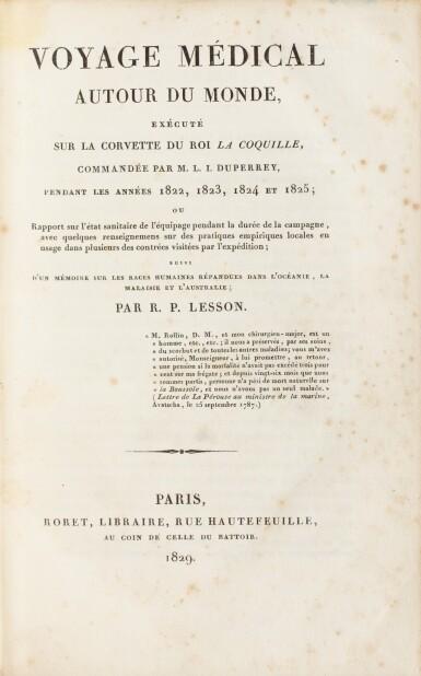 View 1. Thumbnail of Lot 217. LESSON. Voyage médical autour du monde sur La Coquille. Roret, 1829. Demi-basane brune à coins de vélin..