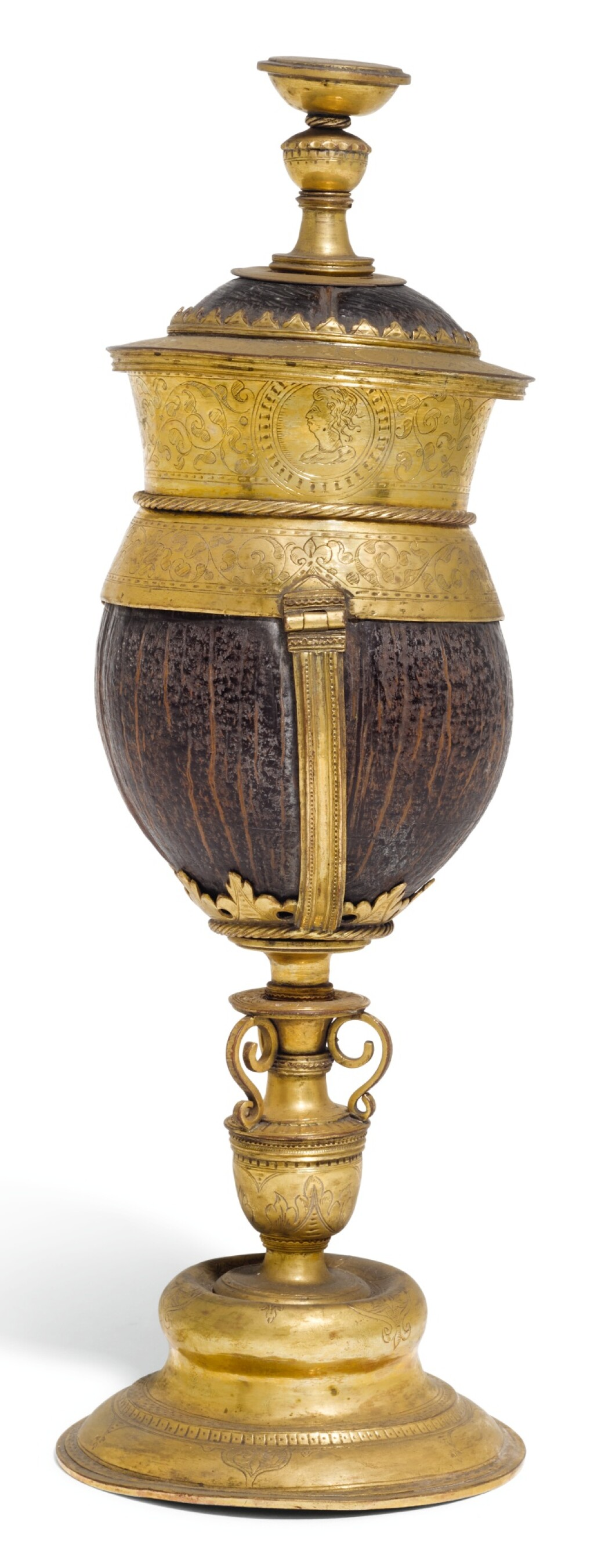A GERMANIC GILT-COPPER MOUNTED COCONUT CUP AND COVER, UNMARKED, CIRCA 1580