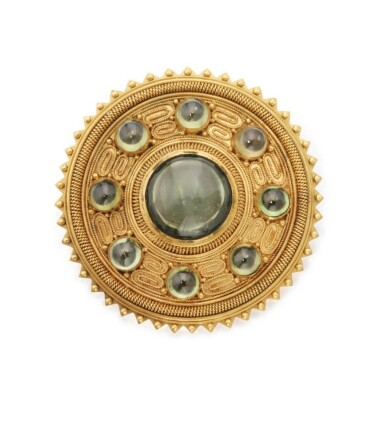 View 1. Thumbnail of Lot 52. CARLO GIULIANO   GOLD AND ZIRCON PENDANT-BROOCH .