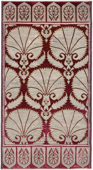 AN OTTOMAN VOIDED VELVET AND METAL-THREAD SILK PANEL (YASTIK), TURKEY, BURSA OR ISTANBUL, 17TH CENTURY