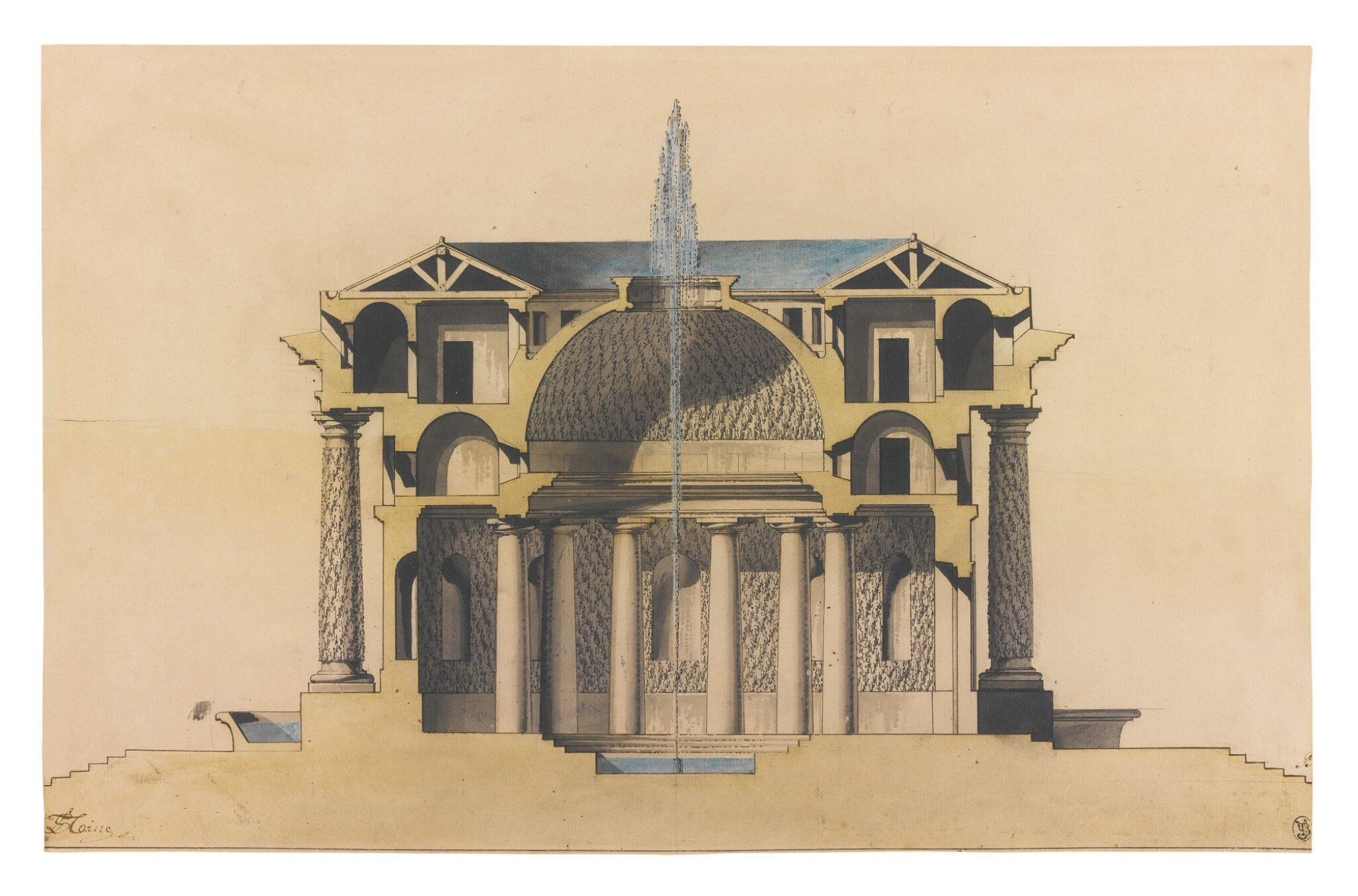 View full screen - View 1 of Lot 147. Sold Without Reserve    L.S. TAINE   DESIGN FOR A TEMPLE D'EAU.