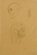 Kopf des Wohlgerusteten Starken Ornament und verweifelter, kiender, nackter Mann (Head of well-armored, strong man, ornament and desperate, kneeling, naked man)