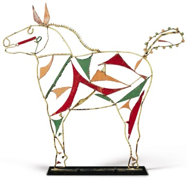 View 1. Thumbnail of Lot 1466. AMERICAN WELDED AND PAINTED WIRE AND SHEET-IRON HORSE SCULPTURE, CIRCA 1950.