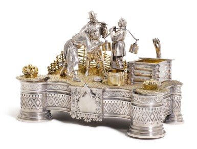 View 1. Thumbnail of Lot 206. An Impressive parcel-gilt silver figural inkwell, Ivan Khlebnikov, Moscow, 1875.
