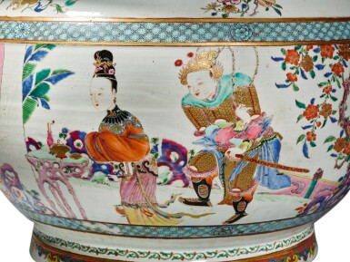 A Rare and Large Chinese Export Famille-rose 'Figures' Fishbowl, Qing Dynasty, Yongzheng Period | 清雍正  粉彩描金人物故事圖大缸