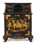 A BLACK AND GOLD PENWORK SIDE CABINET, 19TH CENTURY