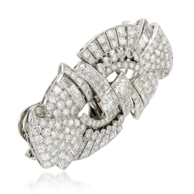 View 3. Thumbnail of Lot 23. Diamond double-clip brooch, 1930s.