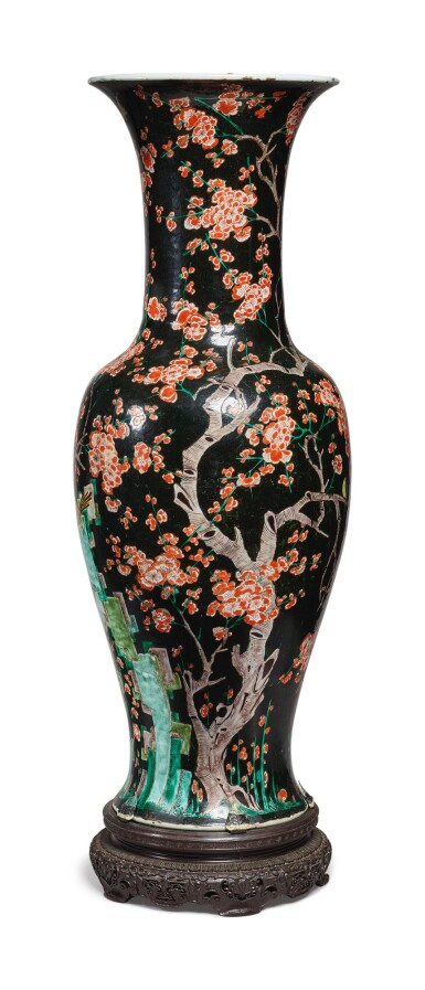 View 2. Thumbnail of Lot 1037. A LARGE FAMILLE-NOIRE 'MAGPIE AND PRUNUS' YENYEN VASE, THE PORCELAIN 18TH CENTURY, THE ENAMELS LATER-ADDED.