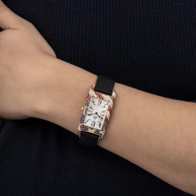 FRED LEIGHTON BY CHARLES OUDIN | LADY'S GEM-SET AND DIAMOND WRISTWATCH [MONTRE BRACELET DE DAME PIERRES DE COULEUR ET DIAMANTS]