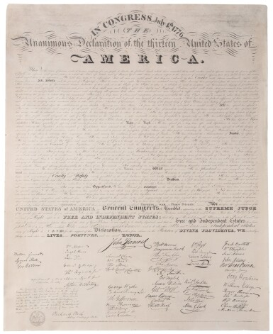 View 1. Thumbnail of Lot 61. Declaration of Independence | Copied from the original Declaration of Independence in the Department of State.