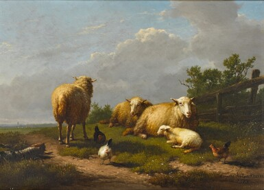 View 1. Thumbnail of Lot 145. Sheep and Chicken in a Landscape.