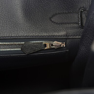 View 9. Thumbnail of Lot 2. Hermès Bleu Indigo Birkin 30cm of Ostrich with Palladium Hardware.