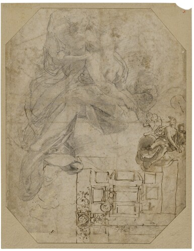 View 3. Thumbnail of Lot 214. Recto: Two groups of figures, studies for the Frangipani Chapel, San Marcello al Corso Verso: Studies for the lunette above the altar in the Frangipani Chapel and an architectural design for a wall decoration.