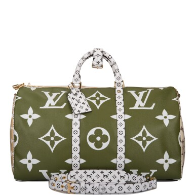 View 1. Thumbnail of Lot 121. Louis Vuitton Khaki Green Keepall Bandoulière 50 of Giant Monogram Canvas with Polished Brass Hardware .