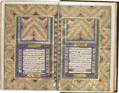 View 1. Thumbnail of Lot 79. A LARGE AND FINELY-ILLUMINATED QUR'AN, COPIED BY MUHAMMAD SHAFI' B. 'ALI ASKAR AL-ARSANJANI, THE ILLUMINATION ATTRIBUTED TO REZA SANI' HUMAYUN, PERSIA, QAJAR, DATED 1283 AH/1866-67 AD.