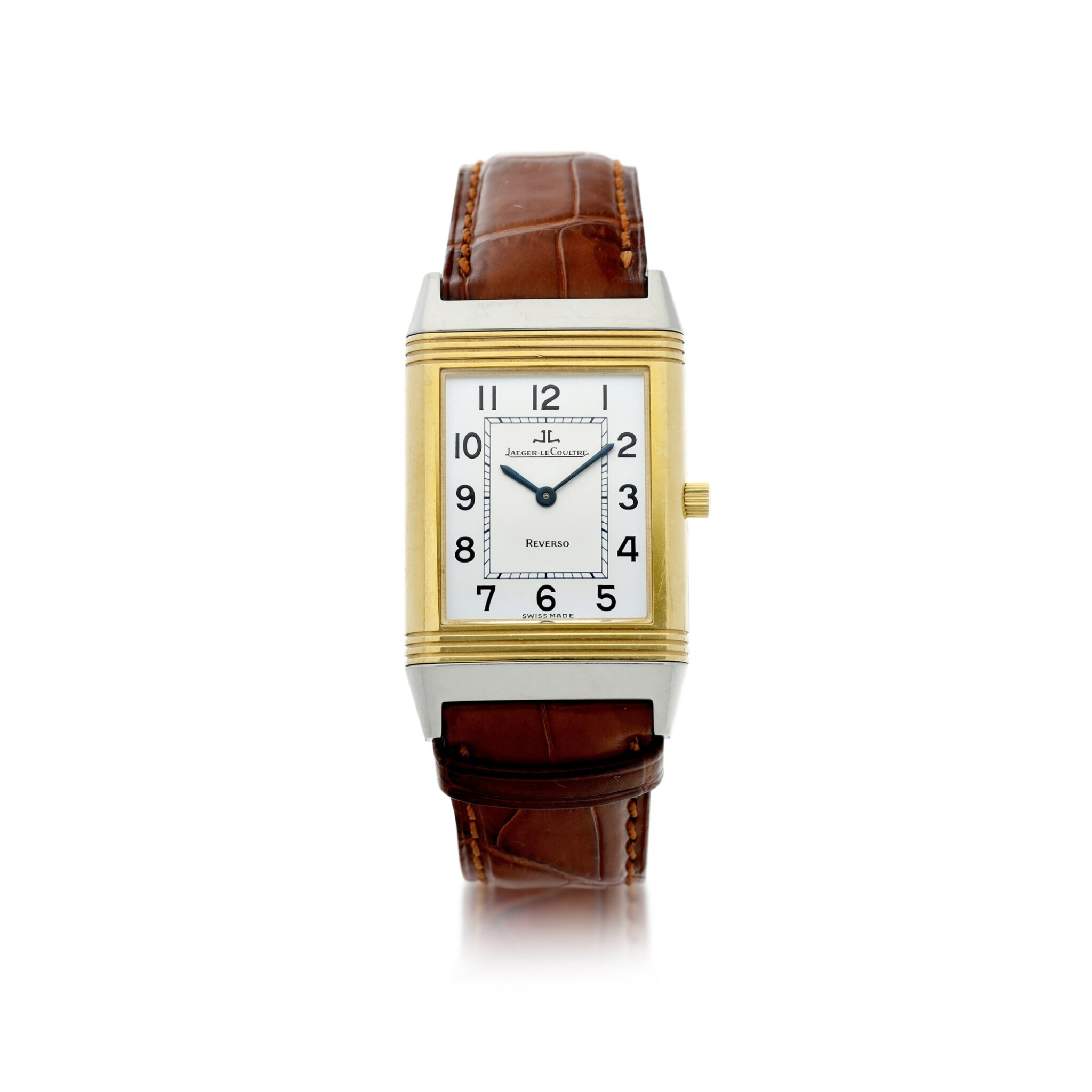 View full screen - View 1 of Lot 244. REFERENCE 250.5.86 REVERSO CLASSIQUE A YELLOW GOLD AND STAINLESS STEEL REVERSIBLE WRISTWATCH, CIRCA 1995.