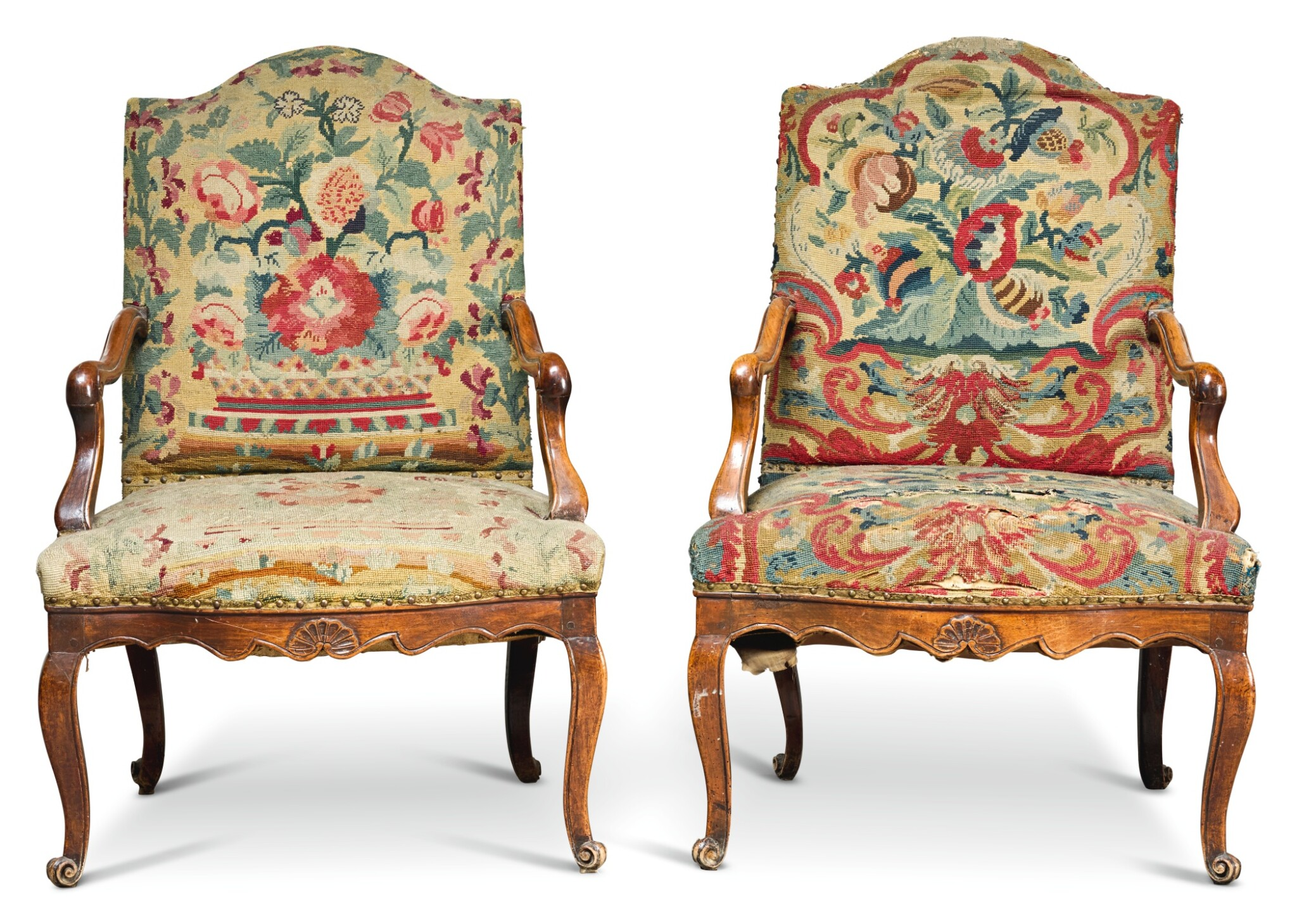 View full screen - View 1 of Lot 248. A PAIR OF LOUIS XV WALNUT FAUTEUILS, PROVINCIAL, SECOND QUARTER 18TH CENTURY.