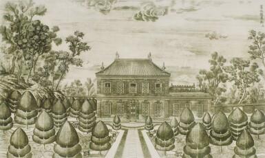 View 19. Thumbnail of Lot 362. A SET OF TWENTY PRINTS OF PALACES, PAVILIONS AND GARDENS AT YUANMING YUAN | 巴黎、1977年 《郎世寧圓明園西洋樓》 一組二十幅 水墨紙本.