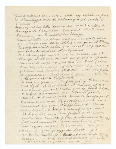 View 1. Thumbnail of Lot 196. Lettre à Lou, 7 janvier 1915. 2 p. in-4. Mon amour pour toi est [...] un petit astre.