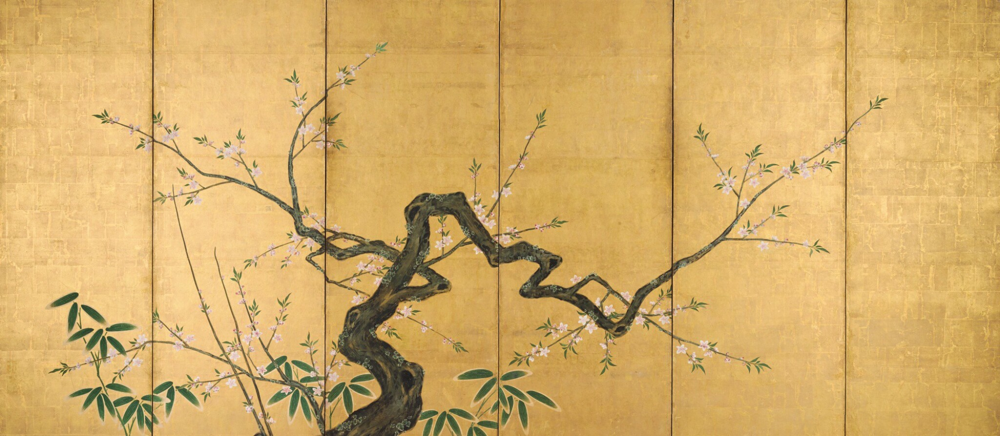 View full screen - View 1 of Lot 47. ANONYMOUS, EDO PERIOD, 19TH CENTURY | PEACH BLOSSOM AND BAMBOO.