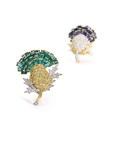 View 4. Thumbnail of Lot 303. VERDURA | PAIR OF SAPPHIRE, EMERALD AND DIAMOND BROOCHES, 'THISTLE', 1960.