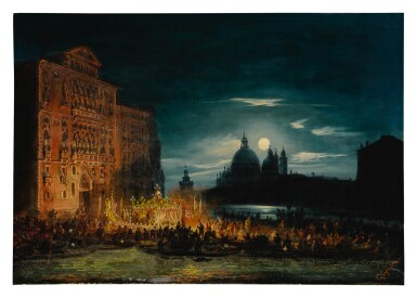 View 2. Thumbnail of Lot 667. A pair of nocturnal Venetian scenes on the Feast of the Redentore.