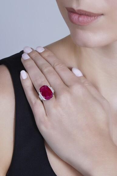 View 2. Thumbnail of Lot 91. Ruby and Diamond Ring, France [紅寶石配鑽石戒指].