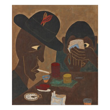 View 1. Thumbnail of Lot 14. JACOB LAWRENCE | UNTITLED (CARD PLAYERS).