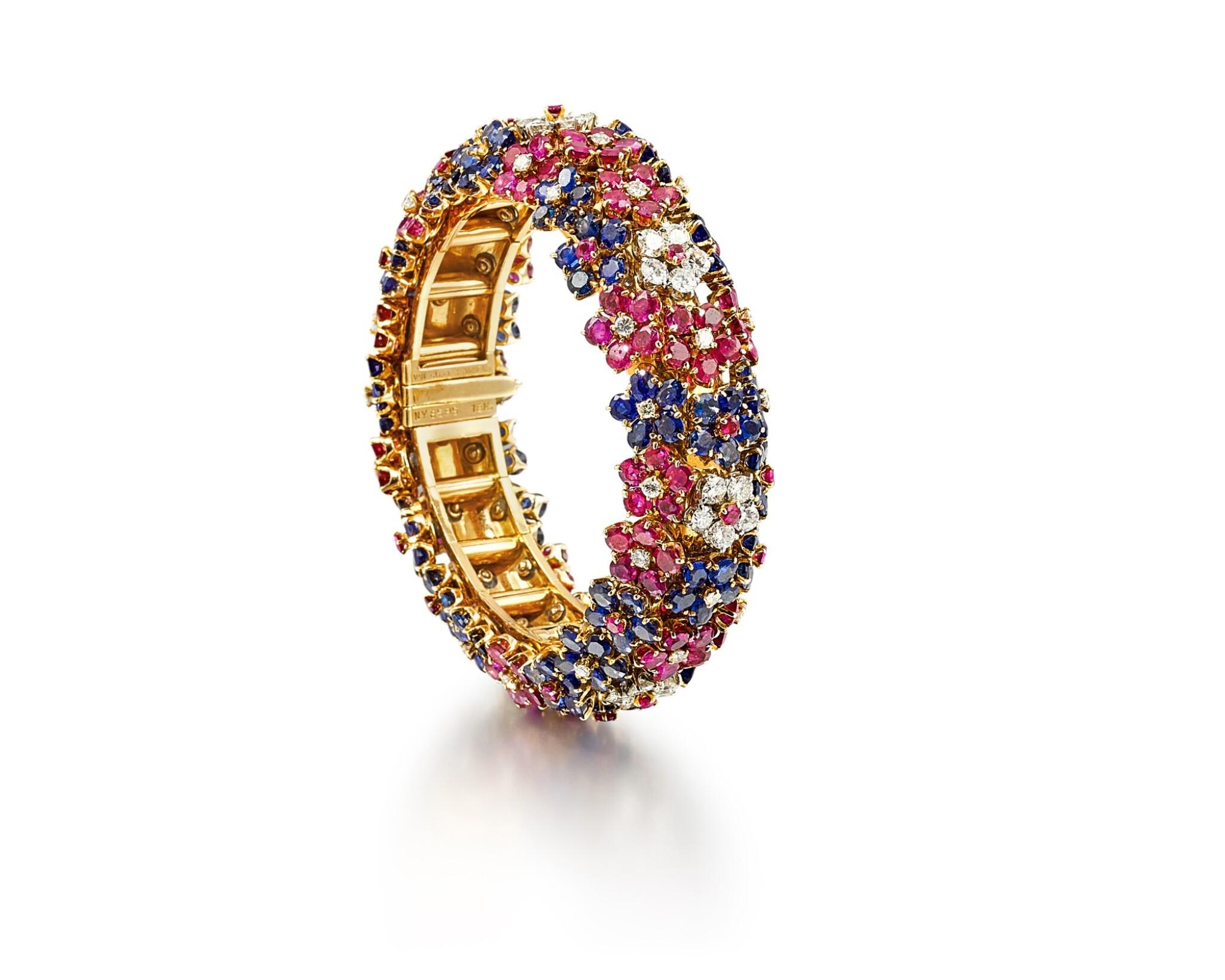 View full screen - View 1 of Lot 1659. 'Hawaii' Ruby, Sapphire and Diamond Bracelet | 梵克雅寶 | 'Hawaii' 紅寶石 配 藍寶石 及 鑽石 手鐲.