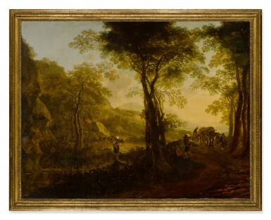 View 2. Thumbnail of Lot 44. Italianate landscape at sunset, with travelers on a country road.