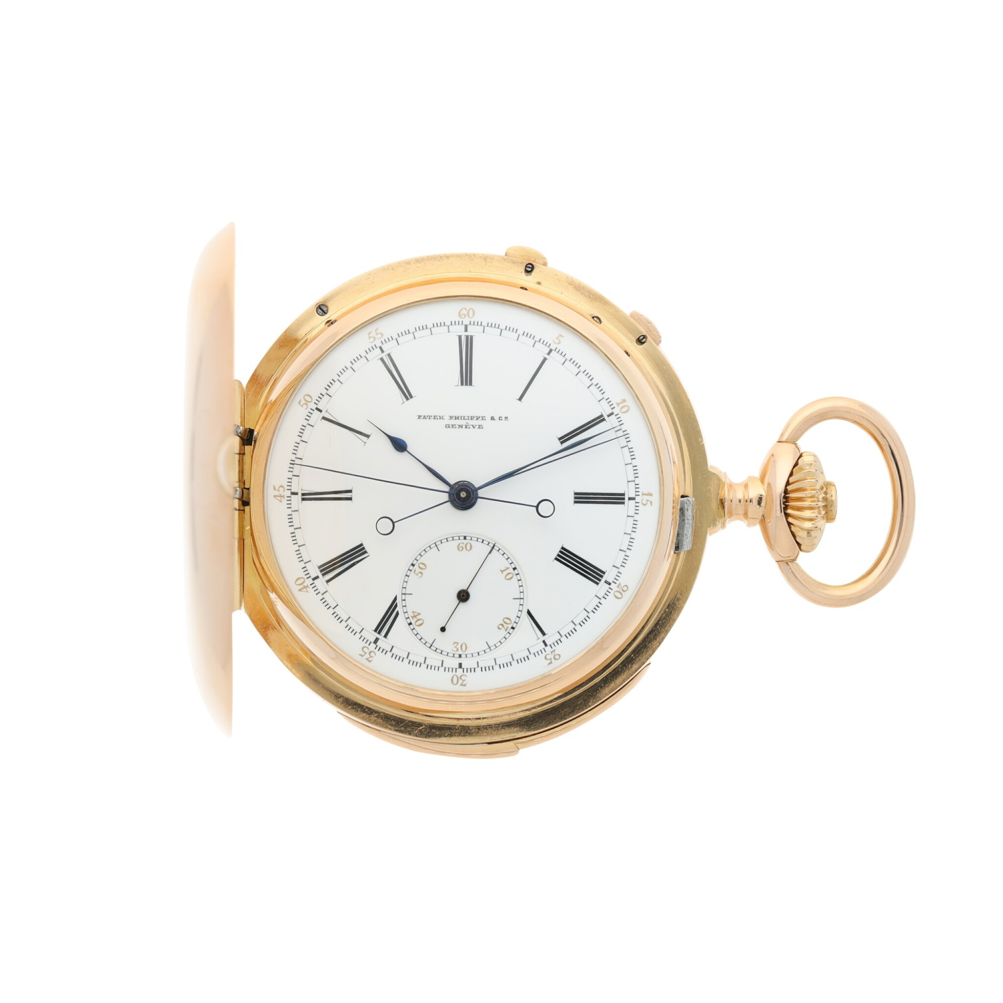 View full screen - View 1 of Lot 40. PATEK PHILIPPE | A PINK GOLD MINUTE REPEATING HUNTING CASED SPLIT SECONDS CHRONOGRAPH WATCH, MADE IN 1892.
