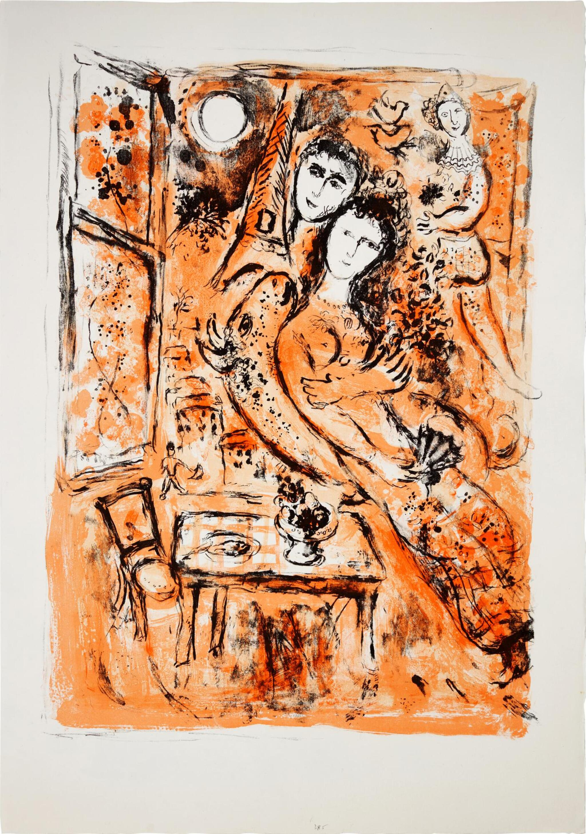 View full screen - View 1 of Lot 7. MARC CHAGALL | COUPLE À L'ÉVENTAIL (M. 385).