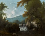 IRISH SCHOOL, 18TH CENTURY | A VIEW OF THE BOGHRA MOUNTAINS, WITH A RIVER AND WATERFALL