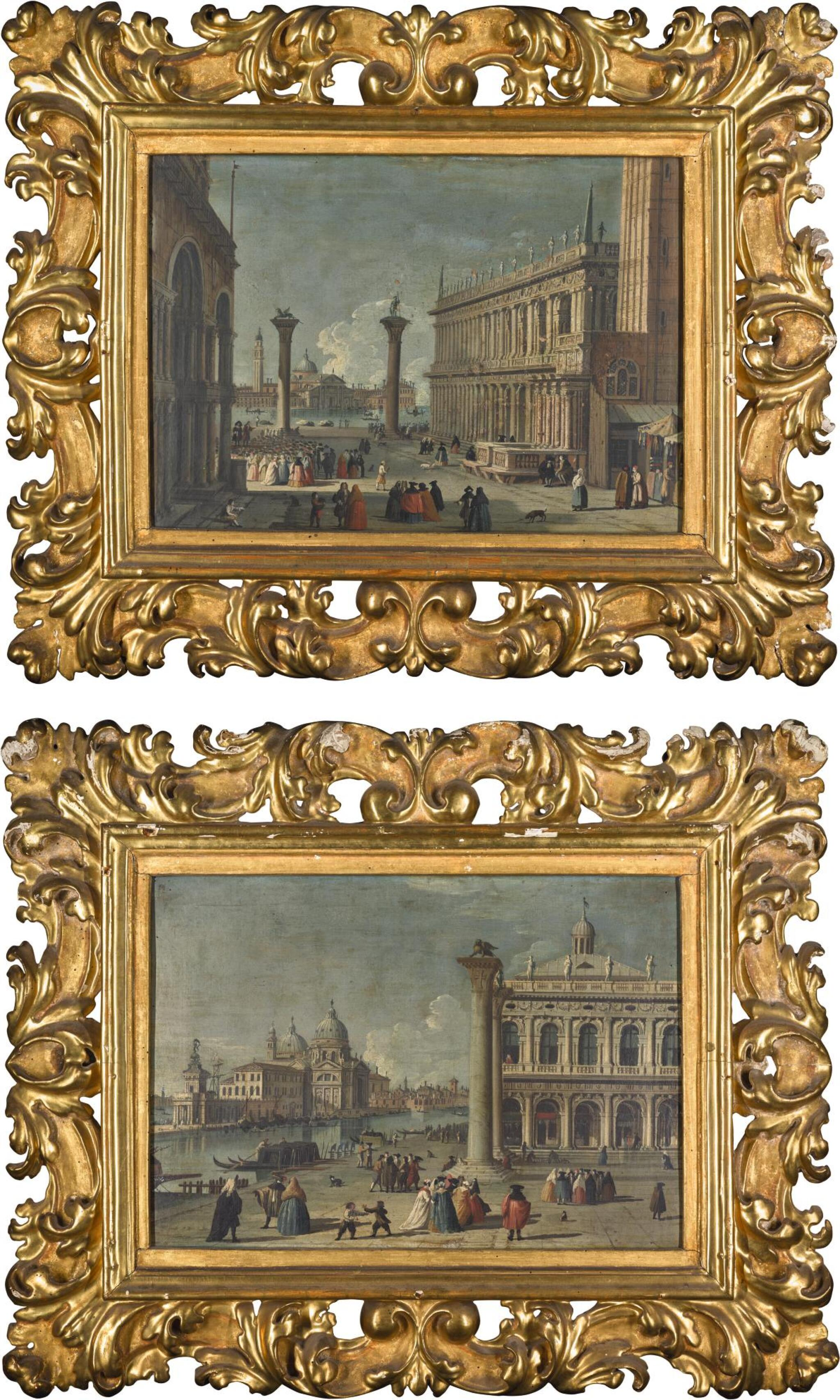 View full screen - View 1 of Lot 15. FOLLOWER OF LUCA CARLEVARIJS | VENICE, A VIEW OF THE PIAZZETTA; AND VENICE, A VIEW OF THE MOLO .